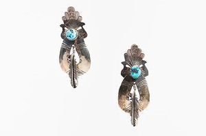 Vintage Sterling Silver Turquoise Stone Feather Southwestern Drop Earrings