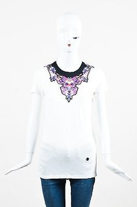 Roberto Cavalli White Pink Jewel Print T Shirt Multi-Color