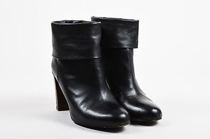 Vince Leather Fold Over Black Boots