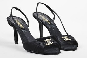 Chanel Gold Tone Satin Black Sandals
