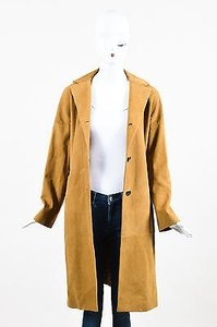 Marni Camel Grained Leather Button Down Long Sleeve Coat Tan Jacket
