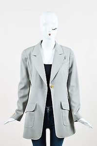 Chanel Chanel Boutique 97p Gray Green Wool Gold Tone Button Ls Blazer Jacket