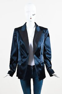 Escada Escada Navy Blue Black Lapel Blazer Jacket