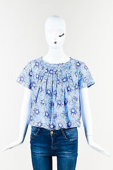 Item - Suno Blue White Floral Print Pleated Short Sleeve Top