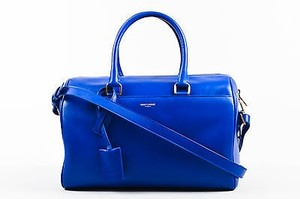 Saint Laurent Cobalt Leather Classic Duffle 6 Satchel in Blue