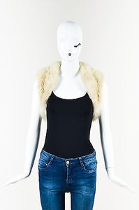 J. Mendel Fur Open Front Cream Jacket