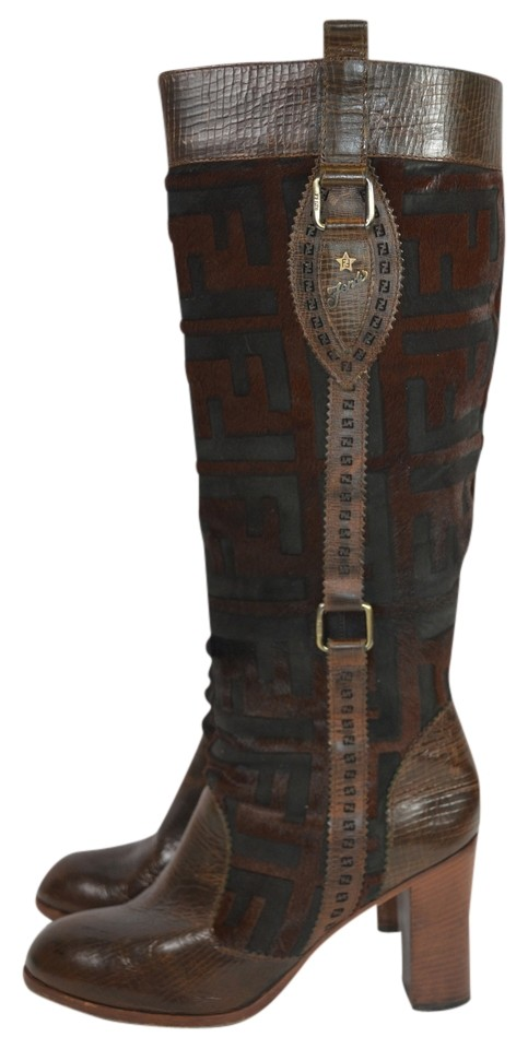 Fendi Brown Leather Horsehair Monogramed Boots/Booties Knee High 39/8.5 Sn Boots/Booties Monogramed a927bb