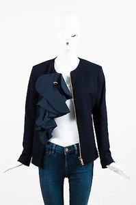 Fendi Navy Fleece Wool Ruffled Cabochon Pin Collarless Zipped Blue Jacket