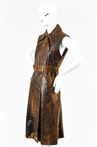 Michael Kors short dress Brown Gold Tone Tan Distressed Leather Belted Zip Midi on Tradesy