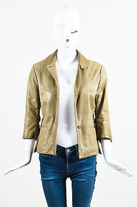 Marni Marni Olive Green Lambskin Leather Knit Lined Crop Sleeve Blazer Jacket