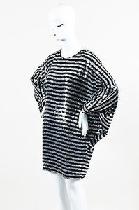 Saint Laurent short dress Black Silver Sequin Striped Dolman Sleeve on Tradesy