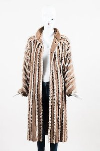 Fendi Vintage Camel Suede Fox Fur Trimmed Long Coat