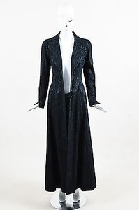 Chanel 02a Wool Blend Metallic Tweed Long Sleeve Full Length Coat