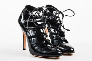 Gianvito Rossi Patent Leather Almond Toe Lace Up Black Pumps