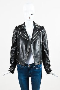 Versace Leather Rhinestone Embellished Moto Motorcycle Jacket