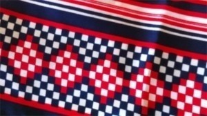Vintage Red White Blue geometric mid-century modern bold scarf patriotic July 4
