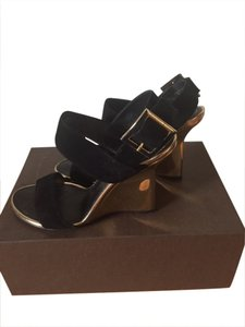 Louis Vuitton Suede Black patent wedge Sandals