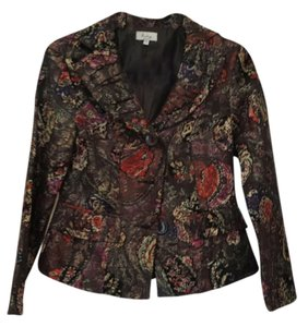 Analogy Brocade Pleated Evening Black Multi Floral Blazer