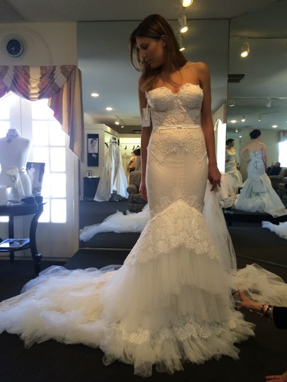 8ab6e49a34c8d Inbal Dror White Lace and Tulle Sexy Wedding Dress Size 4 (S) - Tradesy