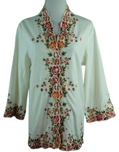 f9e43d0ccdf2c6 Susan Graver Embroidered Shirt Jacket Button Front Top Ivory