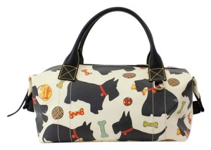 Dooney & Bourke Multi Scotty Dog Plaid Lined B261 Satchel in Cream Black Red Green Yellow