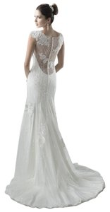 Maggie Sottero White Lace and Slip Savanah Marie Sexy Wedding Dress Size 4 (S)