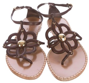 Louis Vuitton Leather Hardware Floral Brown, Beige, Gold Sandals