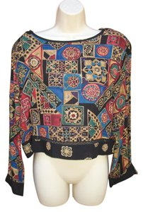 Carole Little Vintage Tribal Cropped Top Black Multi