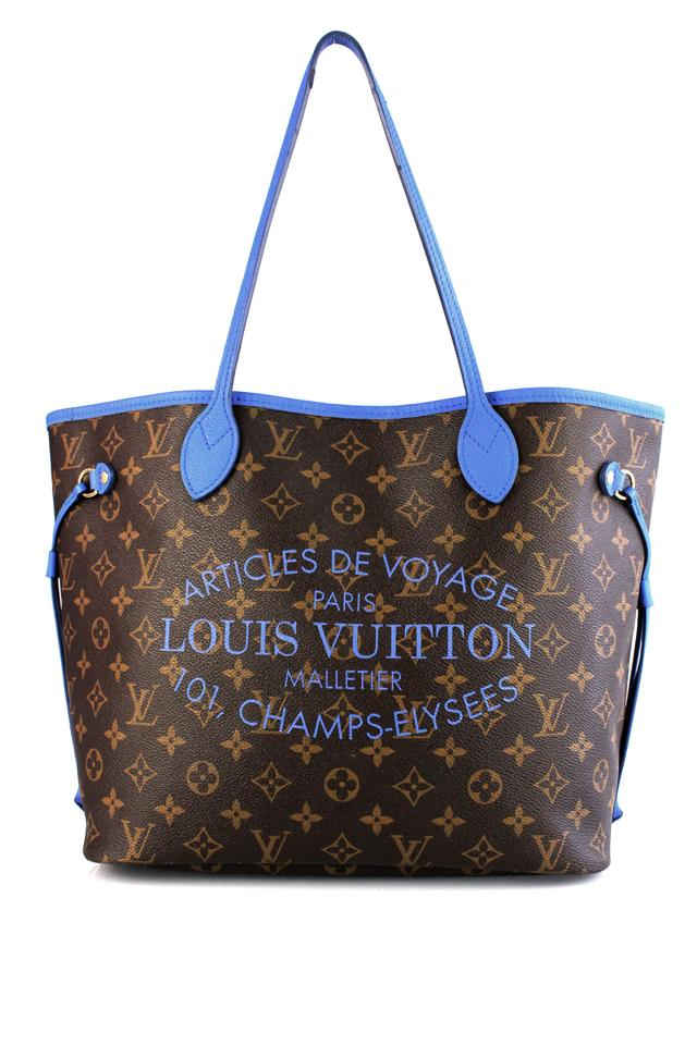 762d6eafc82b Louis Vuitton Neverfull 2013 Special Edition Mm Blue Monogram Ikat Canvas  Tote