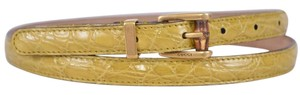 Gucci New Gucci Women's 339065 Yellow Alligator Skinny Bamboo Buckle Belt 34 85