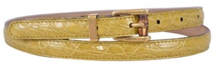 Gucci New Gucci Women's 339065 Yellow Alligator Skinny Bamboo Buckle Belt 30 75
