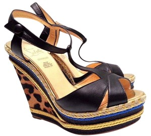 Christian Louboutin Espadrille Leopard Print Calf Hair Corded Multi color Wedges