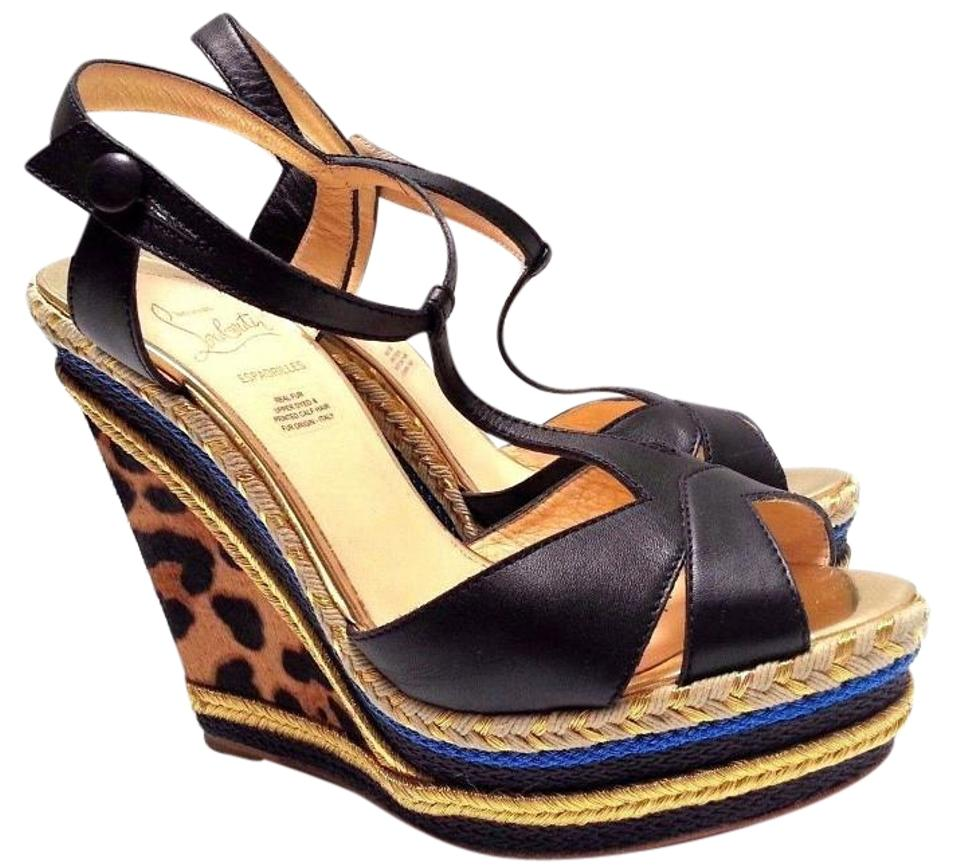 5df16101e5a4 Christian Louboutin Espadrille Leopard Print Calf Hair Corded Multi color  Wedges Image 0 ...