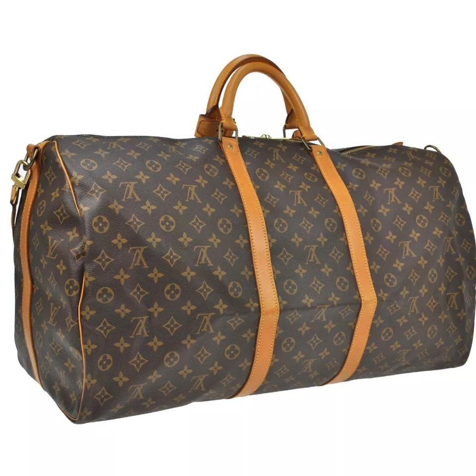f22d957102a9 ... Vuitton Keepall 60 Bandouliere with Lv Strap Name Tag Handle Holder  Lock and Key M41412 Brown Monogram Canvas Natural Cowhide Leather Weekend Travel  Bag