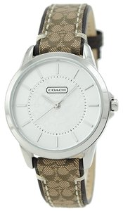 Coach Coach Women's Classic Signature Brown Leather & Fabric Monogram Print Stainless Steel Watch 14501525