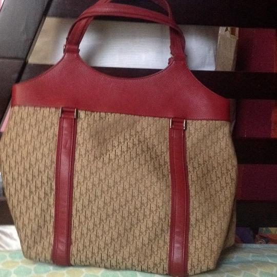 Dior Tote in Burgandy and Brown Image 1
