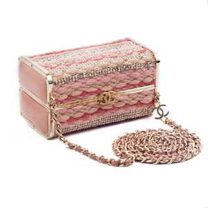 Chanel Crystal Minaudiere Leather Box Tweed Shoulder Bag