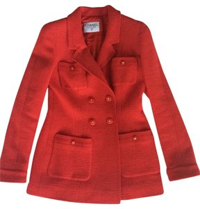 Chanel Boucle Vintage Jacket Holiday Red with slight metallic thread Blazer