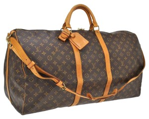 8b56ad3e5080 Louis Vuitton Keepall 60 Bandouliere with Proof Of Lv Strap... M41412 Brown  Monogram Canvas Natural Cowhide Leather Weekend Travel Bag