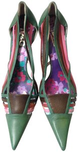 Dolce&Gabbana Leather Chic Pink Green Pumps