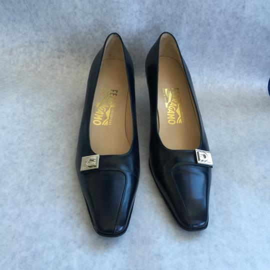 Salvatore Ferragamo Classic 1-2 Inches Darkest Blue Pumps