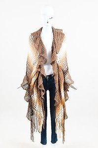 Missoni Missoni Brown Tan Cream Mohair Blend Open Knit Fringe Ruffle Scarf Shawl