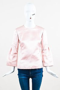 Dior Christian Rtw Light Satin Silk Pleated Sleeve Top Pink