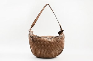 Bottega Veneta Vintage Tan Nude Intrecciato Woven Leather Shoulder Bag