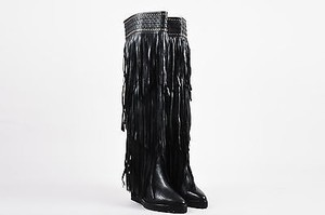 Ivy Kirzhner Leather Fringe Stud Wedge Heel Over The Knee Black Boots