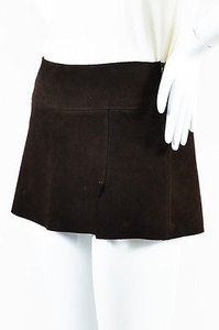 Dolce&Gabbana Dolce Gabbana Suede Mini Skirt Brown