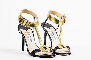 Jimmy Choo Gold Black Sandals