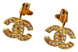 Chanel Authentic Vintage Chanel CC Rhinestone clip on Gold Earrings