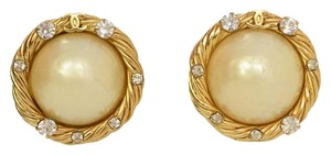 Chanel Chanel Goldtone, Pearl and Crystal Clip On Earrings