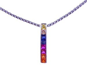 9.2.5 RAINBOW SAPPHIRE SINGLE ROW PENDANT 3 x 3mm PRINCESS CUT CHANNEL SET STERLING SILVER